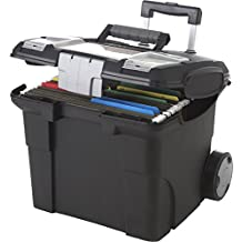 Storex Premium Mobile File Cart with Telescoping Handle and Rubberized Wheels, Black/Grey (61507U01C)