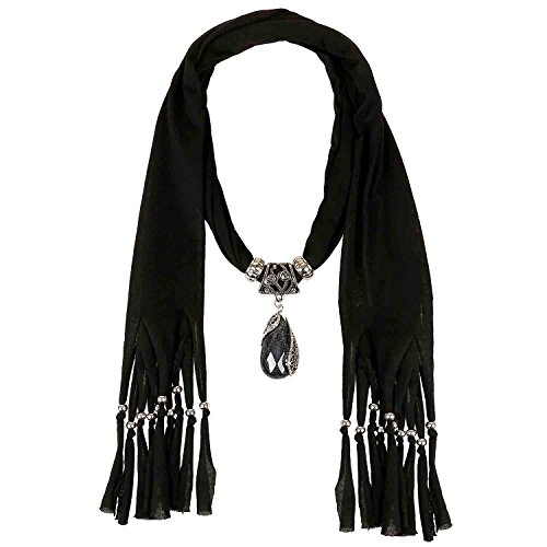 - LERDU Gift Idea Indian Pear Shaped Stone Pendant Black Scarf Necklace Soft Jersey Infinity Scarf Tassel Jewelry for Women