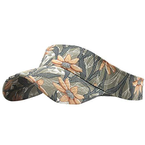 Sun Hat Women Summer 2019 - Unisex Empty Top Hat Washed Canvas Visor Printed Outdoor Cap Adjustable Sport (C) (Is Good Cotton Visor Life)
