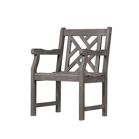 Vifah V1301 Renaissance Hand-Scraped Acacia Patterned Back Outdoor Armchair - Contoured back, contoured seat, with armrests FSC Acacia hardwood Hand-scraped Hardwood - patio-furniture, patio-chairs, patio - 41JgMZE76pL. SS570  -