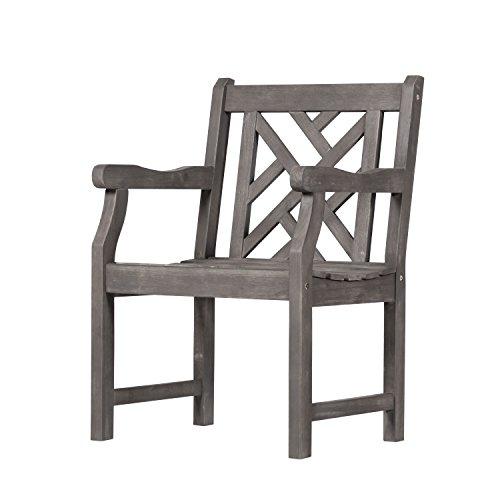 Vifah V1301 Renaissance Hand-Scraped Acacia Patterned Back Outdoor Armchair by Vifah