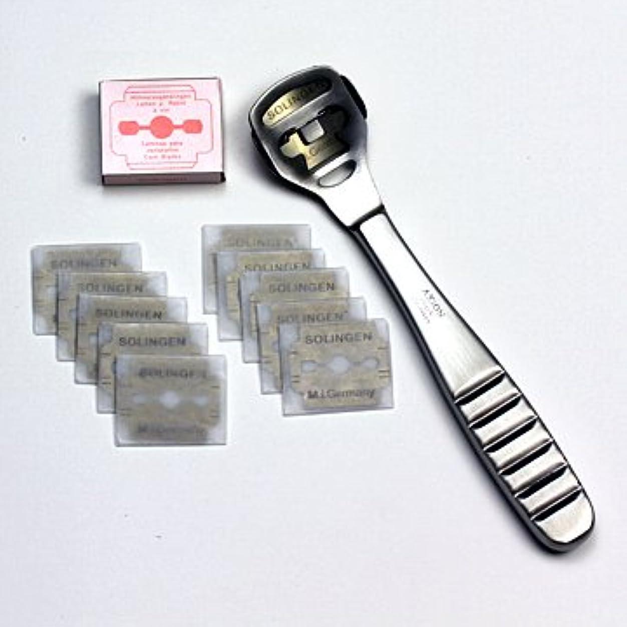 モロニック自伝シュリンクドイツ?ゾーリンゲン AXiON(アクシオン)ステンレス製かかと削り器(ゾーリンゲン製替刃11枚付)#slg008964fba