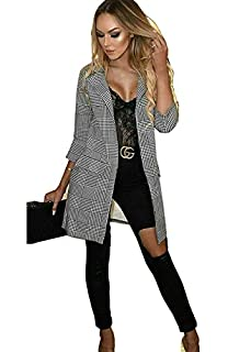 Women Check Hounds DoG Tooth Tartan Duster Coat Ladies 3//4 Sleeves Jacket Blazer