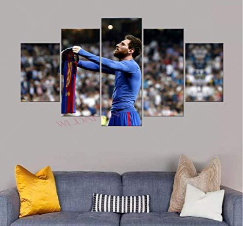 DPFRY Cuadro En Lienzo Barcelona Messi Y Su Imagen De Ropa para La Pared Arte De La Pared Decoracion De Impresion En HD Obras De Arte Modernas Poste De Futbol 5 Piezas 150X100Cm Sin Marco