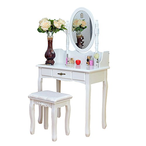 2 Piece Home Furnishing Stool Set Single Mirror Dresser with Dressing Stool Fashionable White Fosinz by Fosinz