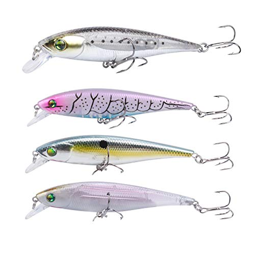 RUNCL Anchor Box - Floating Minnows FM160, Wobbler Fishing Lures, Stick Baits, Hard Fishing Lures (Pack of 4)