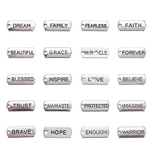 - PandaHall Elite About 200 Pcs Tibetan Silver Alloy Inspirational Message Word Charm Pendants 20 Styles 8x21x2mm for Jewelry Making