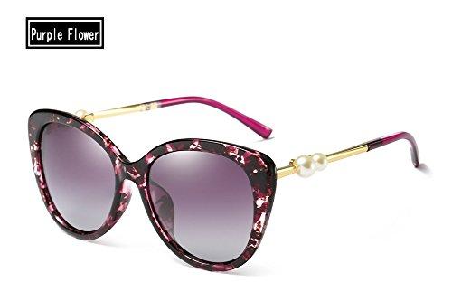 de Gafas purple UV400 Azul Espejo Mujer Sol polarizado Perla TL Sunglasses floral Negro OxPEWt