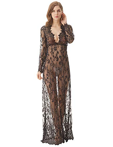 (cunlin Cover Up for Women Sexy See Through Lace Gown Maxi Maternity Dress Photography Props Black XXXXL)