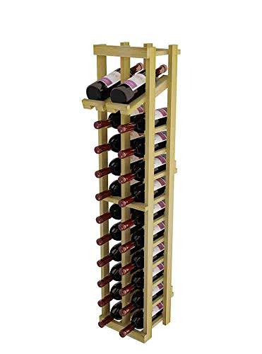 Winemaker Series Wine Rack - 2 Column with Display Row - 4 Ft - Premium Redwood Unstained
