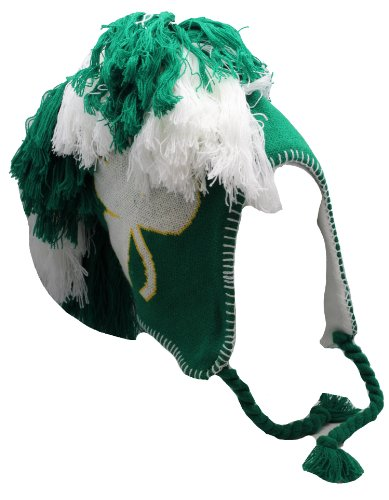 Irish Big Shamrock Mohawk Green and White Tassel Knit Cap W/pom