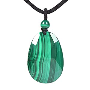 JUST IN STONES Natural AA Malachite Gemstone Faceted Teardrop Chakra Charm Pendant Necklace 18 Inch