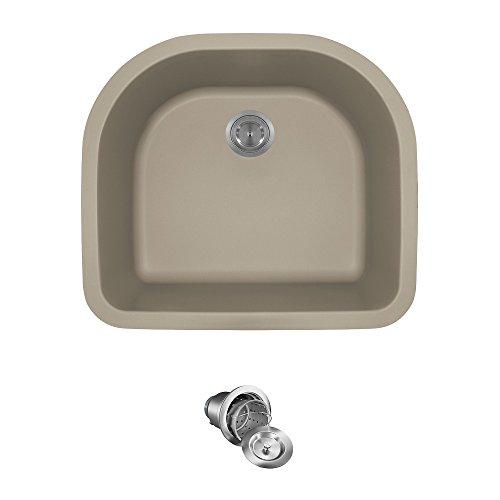 824 D-Shaped Single Bowl Quartz Kitchen Sink, Slate, Basket Strainer