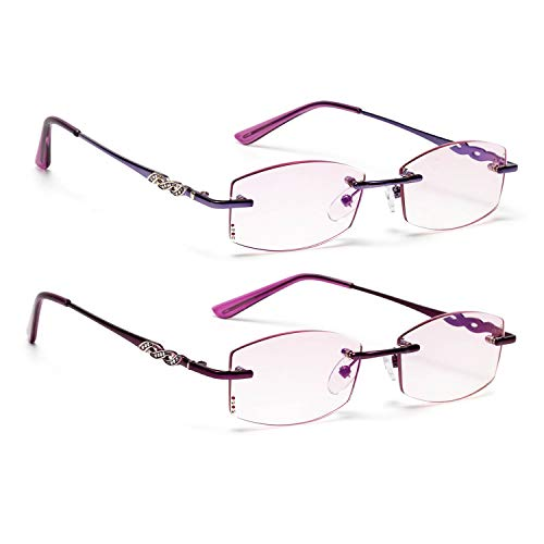 - Liansan Fashion Rimless Diamond Trimming Anti-Radiation Blue Light Blocking Weight Metal Reading Glasses for Women L7027 Purple Wine Red 3.50
