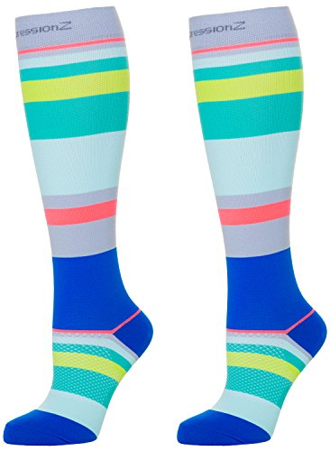 Compression Socks (Ocean Stripes M/ 20-30mmHg) Men & Women Fun Running Casual - Running Fun Gear