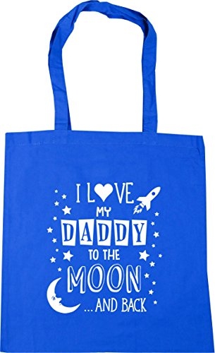 HippoWarehouse I Love My Daddy to the Moon and Back (Blue) Tote Shopping Gym Beach Bag 42cm x38cm, 10 litres Cornflower Blue