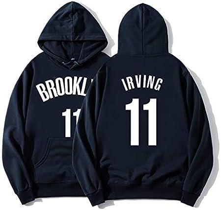 SHPP Kyrie Irving 11# Brooklyn Nets Ropa de Entrenamiento de Baloncesto Retro Vintage Casual Sudadera con Capucha Suelta-Unisex (S-XXXL)-thick-2-XXXL