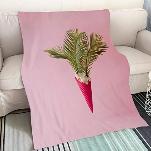(BEICICI Super Soft Flannel Thicken Blanket Palm Tree Leaves in Vanilla ice Cream with red Cone on Pink Pastel Background Creative Summer Concept Sofa Bed or Bed 3D Printing Cool Quilt)