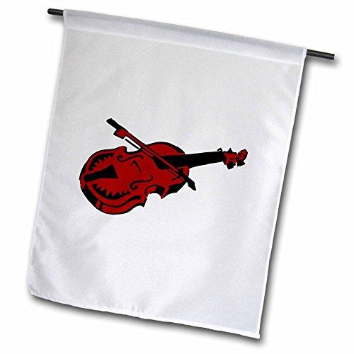 Susans Zoo Crew Music - Stringed black dark red instrument violin bow - 12 x 18 inch Garden Flag