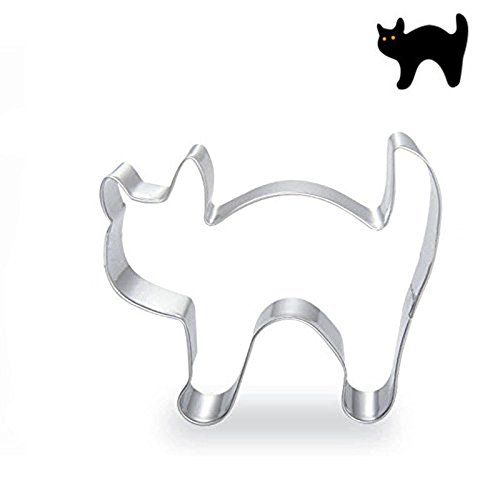 CXFashion Animal Cat Stainless Steel Cookie Cutters for Thanksgiving, Kids Birthday, Cake Baking Biscuit Sugar Cookies Cutter - Cat (Cat Dog Halloween)