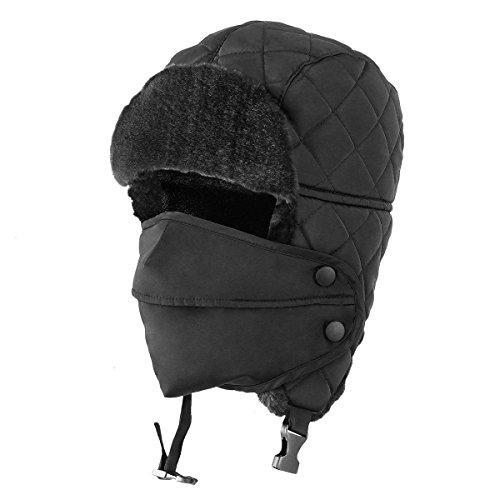 - OMECHY Unisex Winter Trooper Trapper Hat Hunting Hat Ushanka Ear Flap Chin Strap with Windproof Mask Russian Style Ear Flap Hat for Men Women, Black