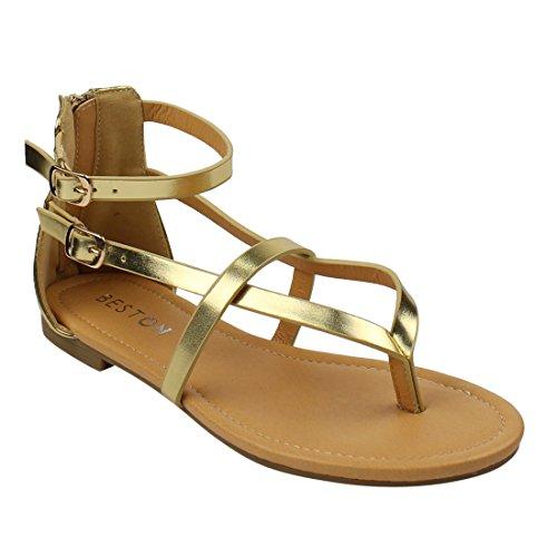 Beston De16 Kvinners V-rem Thong Flat Gladiator Sandaler Kjøre En Størrelse Små Gull