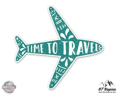 Pack of 2 Time to Travel Cute Airplane Vinyl Stickers Laptops Macbooks Windows Walls Cars