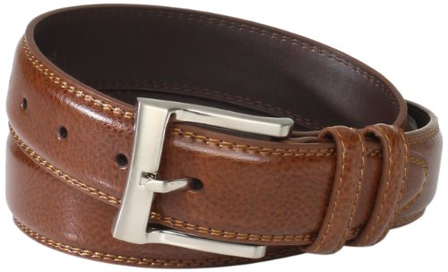 Leather Pebbled Buckle Belt (Florsheim Men's Pebble Grain Leather Belt 32MM, Cognac,)