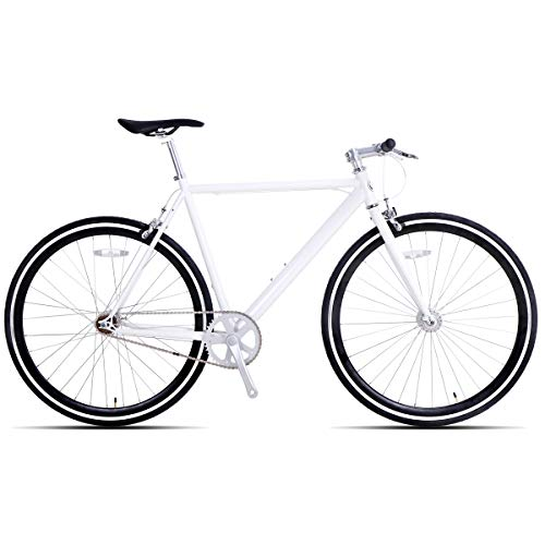 Hiland Fixed Gear Bike Single-Speed Fixie Urban Commuter Bicycle for Men and Women Road Hybrid Bike Adult Teenager Youth Boys Girls Bicycle 700C Wheels Bikes, White 58cm (The Best Fixie Bikes)