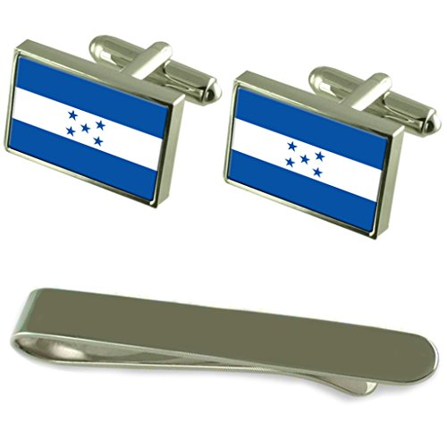 Drapeau Honduras Cravate boutons de manchette en argent gravé Cadeau