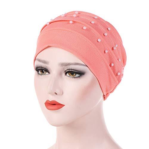 Dressin_Hat Women Beading India Hat Muslim Ruffle Chemo Bean