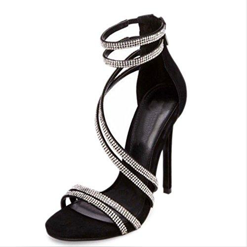 de GAOLIXIA Oro mujer Fiesta Peep Toe Stiletto Tacones de Noche Sandalias Zapatos Negro Casual Black el vestido para Primavera Verano Plata Rhinestone oro y Heel 1wU5yFygxq