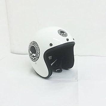 Amazon.es: GZM - Casco Jet, pequeño y homologado, color blanco, con diseño de calavera negra, Harley Davidson y Custom XS blanco