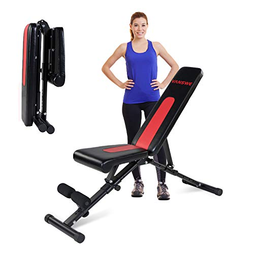 Vanswe Adjustable Weight Bench Foldable Flat/Incline/Decline Utility Exercise Workout Bench Sit Up Home Gym Equipment for Full Body Workout