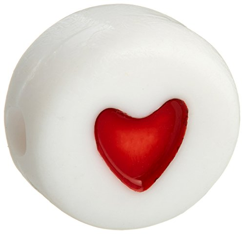 Darice Red Hearts-Round-White-6mm Acrylic Alphabet Beads