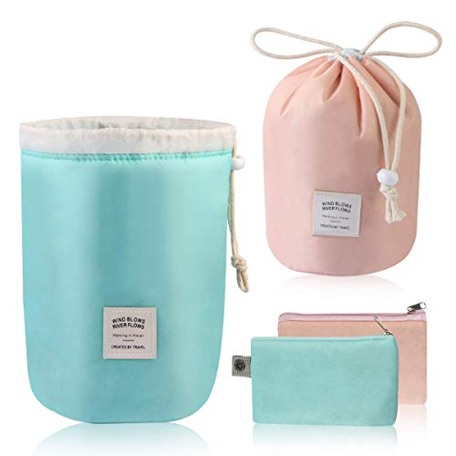 MAANGE Travel Makeup Bags 2PCs Waterproof Makeup Bag Cosmetic Bag Organizer Bathroom Storage Carry Case Drawstring Dresser Pouch with Mini Pouch & Clear PVC Makeup Brush Bag (Light Blue & Pink) by MAANGE