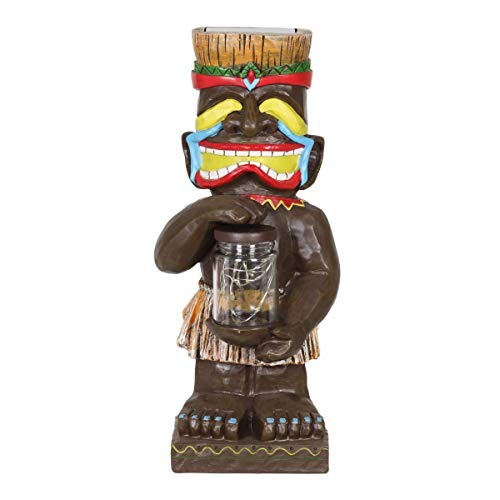 Exhart Laughing Island Totem Garden Imitation Wood Resin with 6 Solar LED Firefly Lights Glass Jar - Tropical Totem Garden Statue Holding a Jar of Fireflies - Colorful Totem Garden Decor, 4 x 11