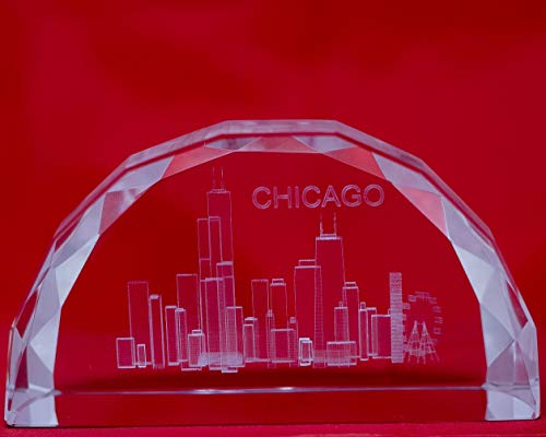 (Chicago Souvenir Skyline Thick Heavyweight Half Moon Beveled Engraved Paperweight (2.75 x 5 x 1.5 in.))