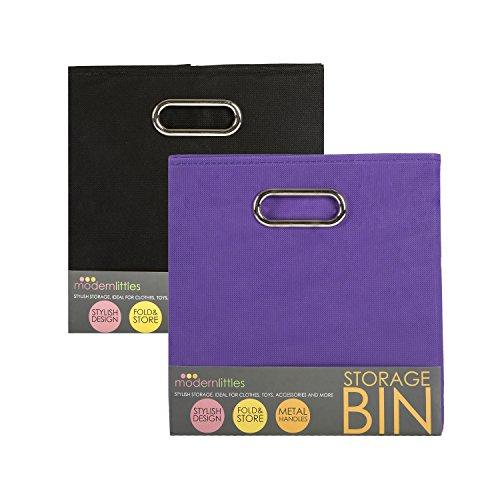 Maven Gifts: Modern Littles Folding Storage Bin 2-Pack Set  Smarty Pants Black Bin with Color Pop Purple Bin  Attractive and Functional