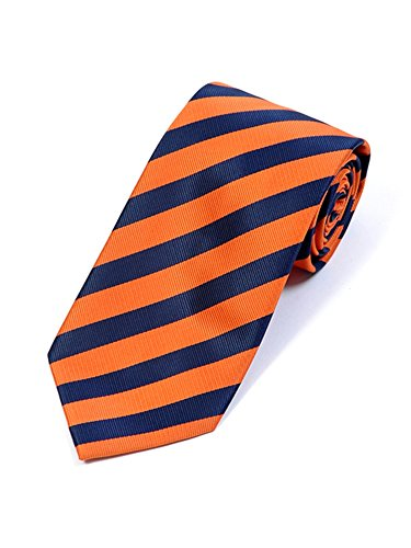 Men's College Orange And Navy Striped Colored Woven Neck -