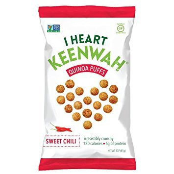 I Heart Keenwah Quinoa Puffs, Sweet Chili, 3oz, Vegan, Gluten-Free (Pack of 12)