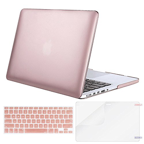MOSISO Case Only Compatible MacBook Pro (W/O USB-C) Retina 13 Inch (A1502/A1425)(W/O CD-ROM) Release 2015/2014/2013/end 2012 Plastic Hard Shell & Keyboard Cover & Screen Protector, Rose Gold