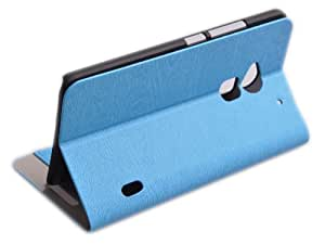 Einzige Slim Fit Leather Case for HTC One Max Smartphone (15 cm (5,9) Premium Leather Case with Free Universal Screen-stylus(grainy) (Blue)