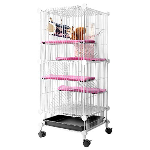 QCM Pet Hutch Cage for Squirrel/Ferret/Chinchilla/Guinea Pig/Rat or Other Small Animals Indoor, Expandable and Stackable, 14 x 14 x 36 in
