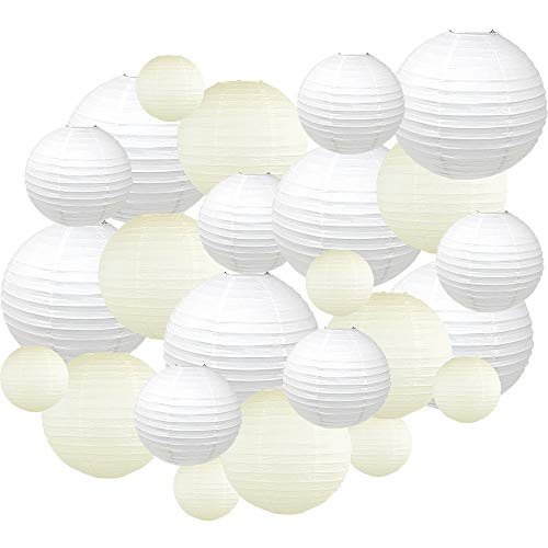 Just Artifacts Decorative Round Chinese Paper Lanterns 24pcs Assorted Sizes & Colors (Color: White & Ivory)]()