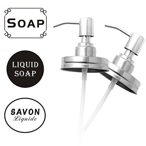 Mason Jar Soap Dispenser Lids Stainless Steel Lotion Dispenser Pump Insert Kit Rust Proof for Ball, Canning Jars Waterproof Labels (2 Packs)