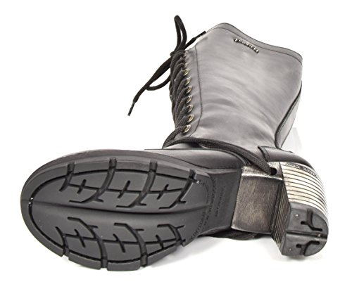Del Scarpe Ginocchio Pelle A Nero Tacco Lunghezza In Stivali Stile New Militare Stringata Rock Blocco Da BqHI7