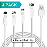 Lightning Cable, MFi Certified 4Pack 3FT 6FT 10FT Lighting Cords High Speed USB Charge/Sync Cord Compatible with iPhone XR XS XSMax X 8 8 Plus 7 7 Plus 6 6s Plus SE 5 5s 5c iPad iPod (White)