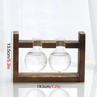 Wood Shelf Vases - Retro Plant Terrarium with Wooden Stand Decorative Air Planter Bulb Glass Vase Holder Hydroponics for Home Office Decoration 1 Pcs - Vases Wood