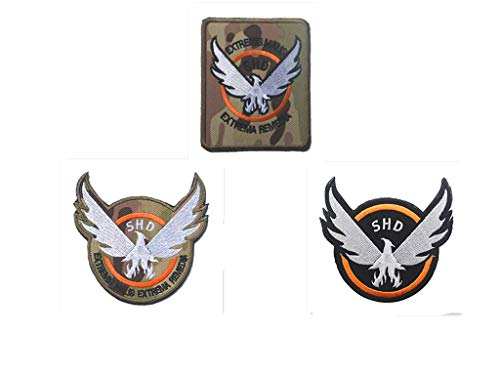 3 Pieces Tom Clancy's The Division Agent SHD Logo Military Hook Loop Tactics Morale Embroidered Patch (color4)